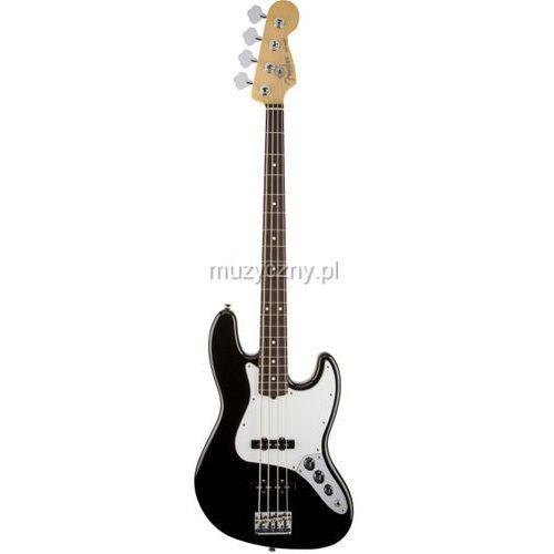 Fender american standard jazz bass rw black gitara basowa, podsturnnica palisandrowa