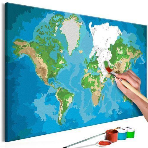 Artgeist Obraz do samodzielnego malowania - mapa świata (niebiesko-zielona)