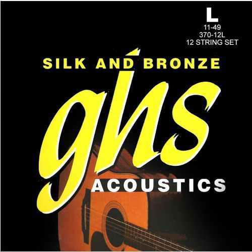 silk and bronze struny do gitary akustycznej, 12-string, phosphor bronze, light,.011-.049 marki Ghs