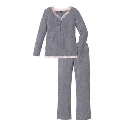 Piżama z długimi spodniami z poszerzanymi nogawkami szary melanż marki Bonprix