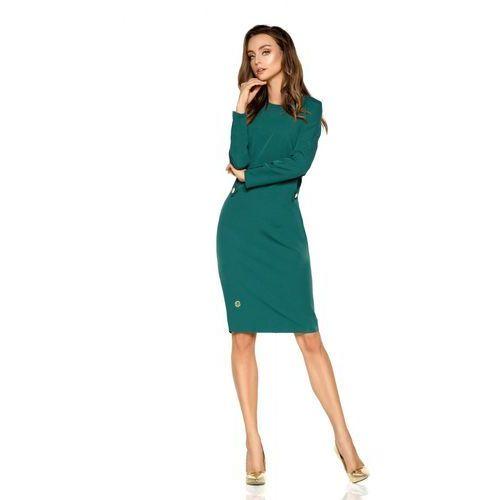 Elegancka sukienka biznesowa L274 ciemna zieleń