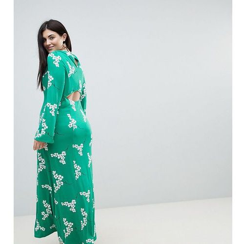 ASOS CURVE Maxi Tea Dress With Open Back in Green Floral - Multi, kolor zielony