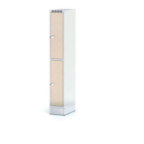 Szafka ubraniowa 2 drzwi 300x300 mm na cokole, drzwi lpw, brzoza, zamek obrotowy marki Alfa 3