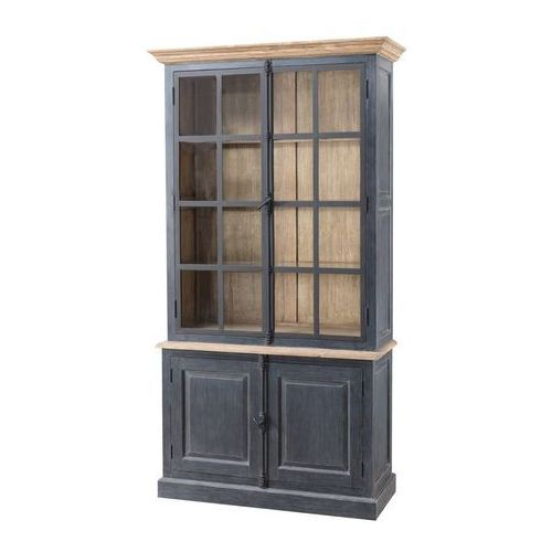 Dekoria kredens gordes 110x46x230 old black & natural, 110 × 46 × 230 cm