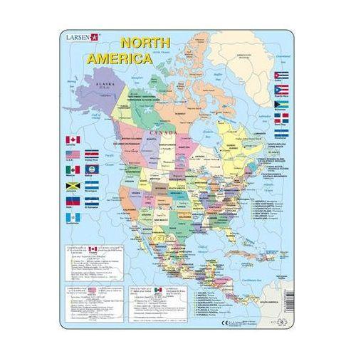 Puzzle maxi - mapa severní ameriky + vlajky/85 dílků marki Neuveden