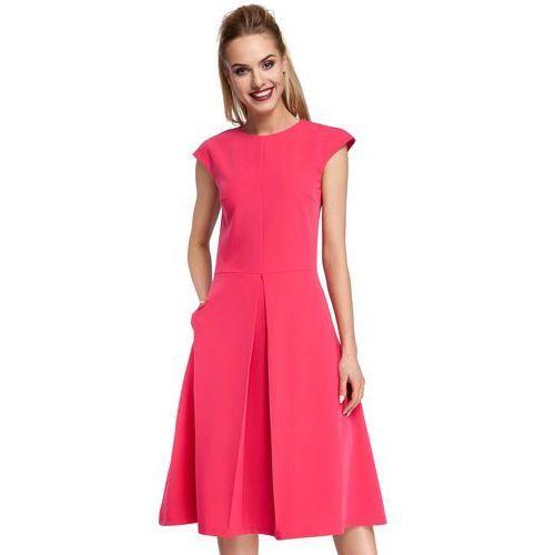 Klasyczna Rozkloszowana Różowa Sukienka z Kontrafałdą, w 5 rozmiarach