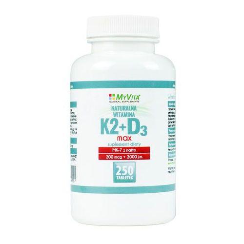 Witamina K2 MK-7 K2MK7 MAX 200mcg + D3 4000IU 250 tabletek MyVita (5906395684595)