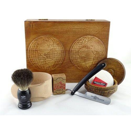 Margo Retro mapa świata 7-elementowy zestaw do golenia brzytwą w drewnianym pudełku, czarny