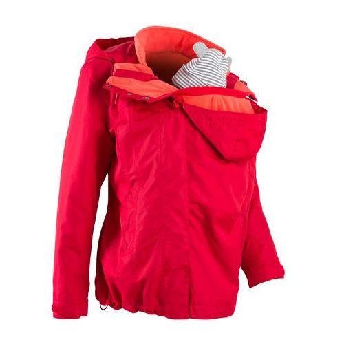 Kurtka ciążowa funkcyjna 4 w 1 z wstawką niemowlęcą na nosidełko bonprix czerwono-koralowy, kurtka