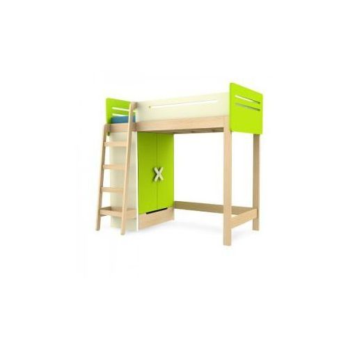Łóżko piętrowe z szafą prawe/lewe TIMOORE SIMPLE 200/90cm kolor zielony - oferta [05e4d44f338f65f7]