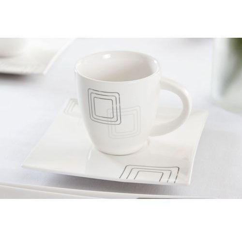 Serwis obiadowo-kawowy DUO KWADRATY na 6 osób (30 el.) -- biały - sprawdź w Garneczki.pl - Wyposażenie Kuchni!