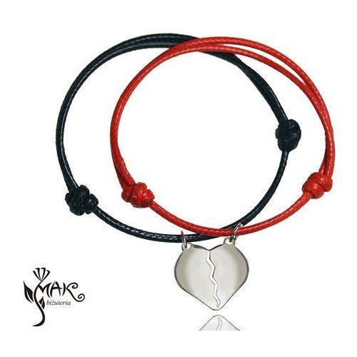 Mak-biżuteria Br724 bransoletki z grawerem dla pary serce połówki