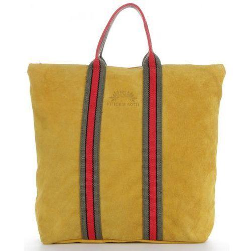 43db42642aae5 Firmowe Torebki Skórzane Stylowy i Funkcjonalny Shopper z opcją Plecaczka w  modne paski renomowanej firmy Vittoria Gotti Made in Italy Żółty (kolory)  235,00 ...