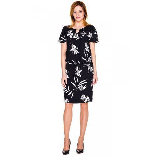 Czarna sukienka w białe kwiaty - marki Potis & verso