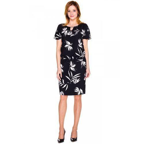 Czarna sukienka w białe kwiaty - Potis & Verso, kolor czarny