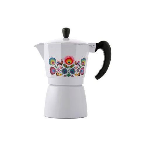 Kawiarka aluminiowa ciśnieniowa FLORINA FOLK BIAŁA - na 6 filiżanek espresso - rabat 10 zł na pierwsze zakupy!