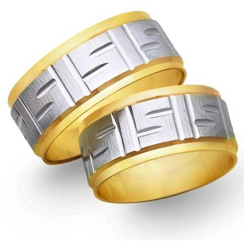 Obrączki ślubne z żółtego i białego złota 9mm - O2K/031 z kategorii Obrączki ślubne
