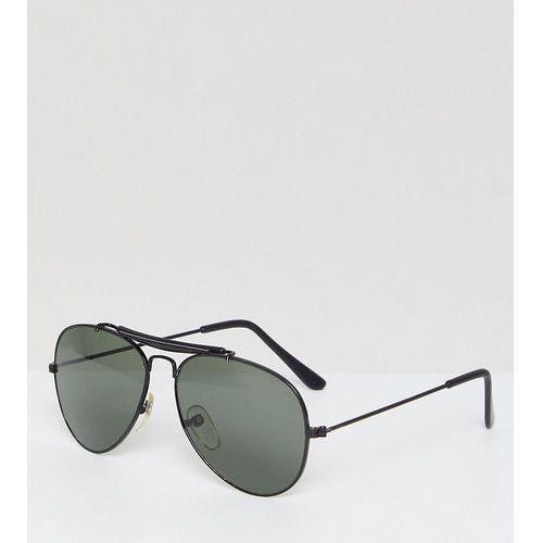Reclaimed Vintage Inspired Aviator Sunglasses In Black Exclusive To ASOS - Black, kolor czarny