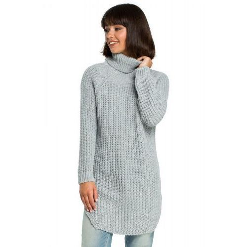 Bk005 długi sweter z golfem - szary marki Anp