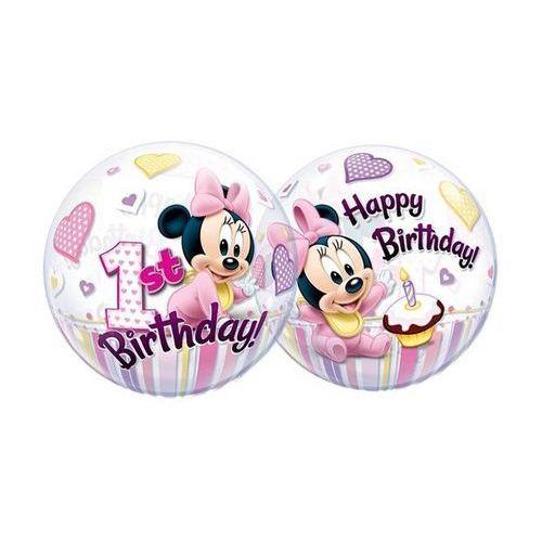 Balon foliowy bubble Myszka Minnie na roczek - 56 cm