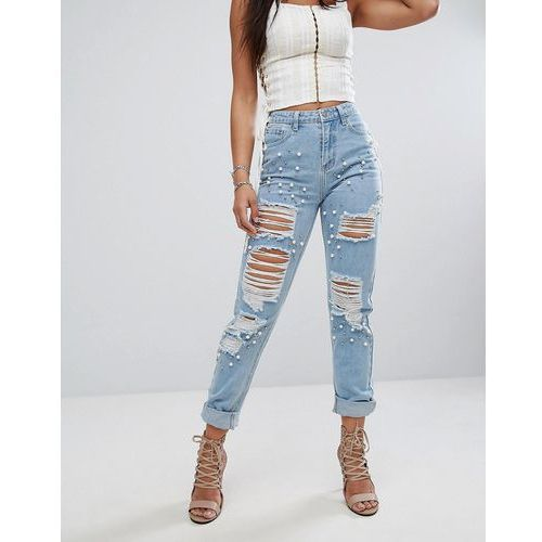 jeans with all over studs and distressing - blue marki Glamorous