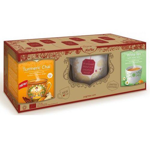 Yogi tea (herbatki) Zestaw z kubkiem (herbatka złoty chai z kurkumą bio 34 g, herbata biała z aloesem bio 30,6 g) - yogi tea