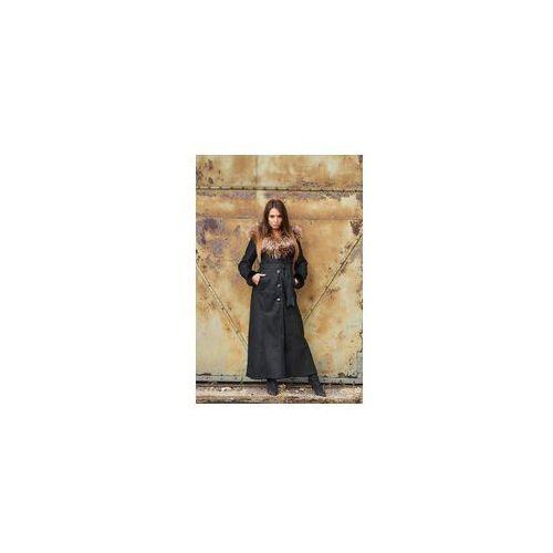 Kozuch damski płaszcz 135 cm / kaptur / futerko gt001 marki F.p. leather