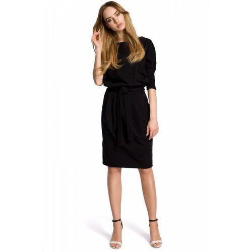 cfbca287020026 Moe M369 Sukienka czarna 124,15 zł Sukienka odcinana w pasie z  paskiem.Dzianinowa sukienka z kimonowymi rękawami zakończonymi ściągaczem,  ołówkową.