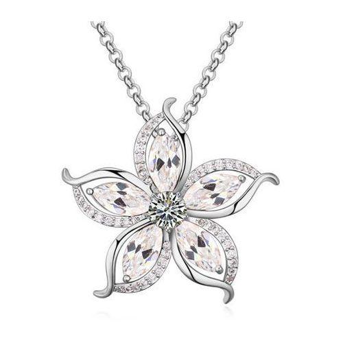 EXCLUSIVE Naszyjnik z pięknym kwiatem srebrny - srebrny