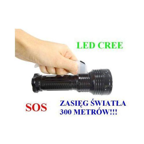 POLICYJNA Latarka Szperacz (zasięg ok 300m!!) LED CREE + Stroboskop/SOS.., 590734160684