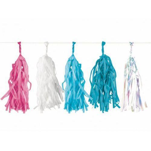 Girlanda z frędzlami różowymi, białymi, błękitnymi i niebieskimi - 3 m - 1 szt. marki Amscan