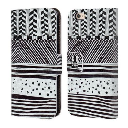 Etui portfel na telefon - Black and White Doodle Patterns HORIZONTAL MIX