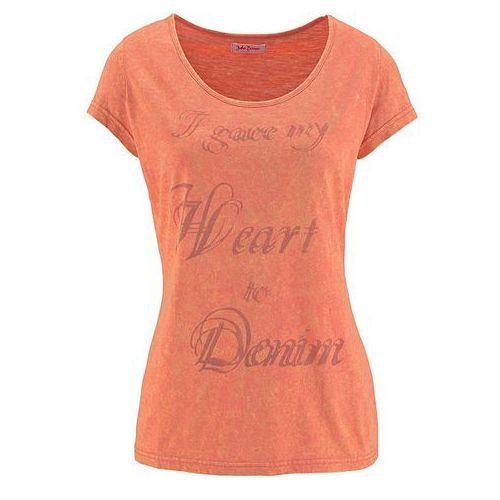 Shirt z nadrukiem, krótki rękaw bonprix mandarynka