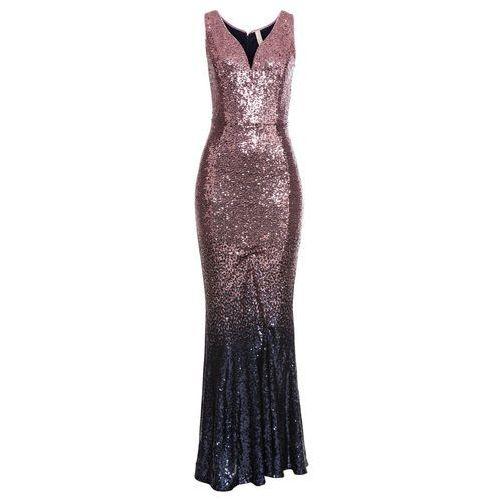 Długa sukienka wieczorowa z cekinami jasnoróżowo-czarny, Bonprix, 32-50
