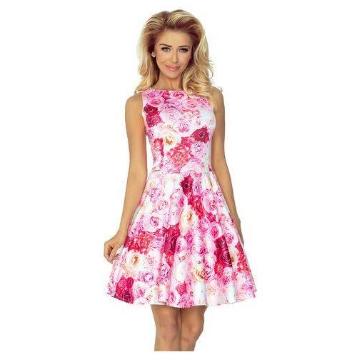 Sukienka w Róże Rozkloszowana bez Rękawów z Dekoltem w Łódkę, kolor różowy
