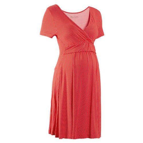 Sukienka ciążowa i do karmienia, shirtowa, krótki rękaw bonprix truskawkowo-biały w kropki, kolor czerwony