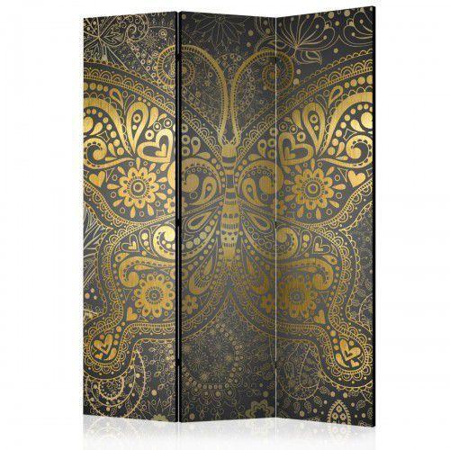 Parawan 3-częściowy - Złoty motyl [Room Dividers], A0-PARAVENT93 (7810106)