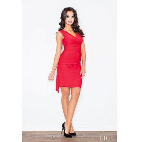 Czerwona Asymetryczna Sukienka Modnie Marszczona, kolor czerwony