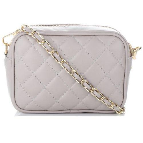 43665c63ddefe modne pikowane torebki skórzane listonoszki made in italy na każdą okazję  jasno szare (kolory) marki Vittoria gotti 159