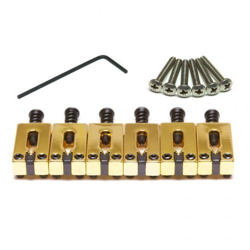 string saver pg-8000-fg - strat & tele style saddles, brushed steel, 6-strun, złoty vintage marki Graphtech