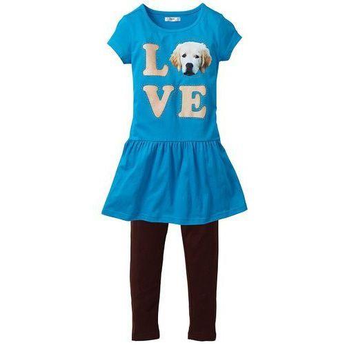 Sukienka + legginsy (2 części) bonprix z nadrukiem turkusowy-ciemnobrązowy (sukienka dziecięca)
