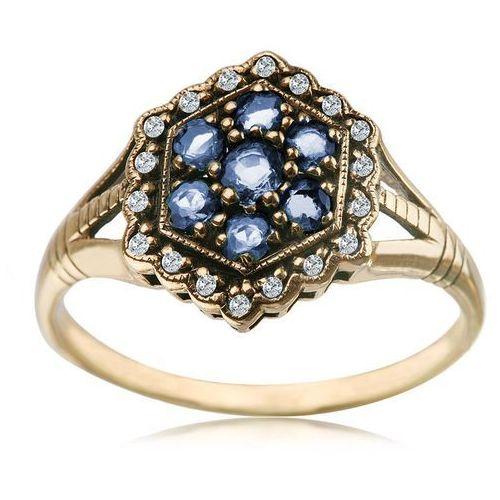Kolekcja Wiktoriańska - pierścionek z brylantami i szafirami marki Biżuteria YES