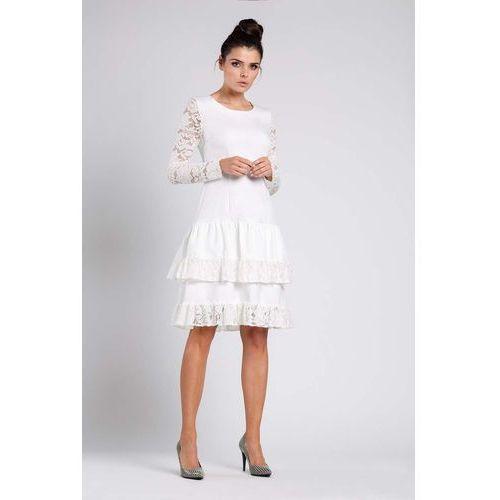 c1bb3ffeb7 Ecru Wizytowa Sukienka z Obniżonym Stanem z Koronką