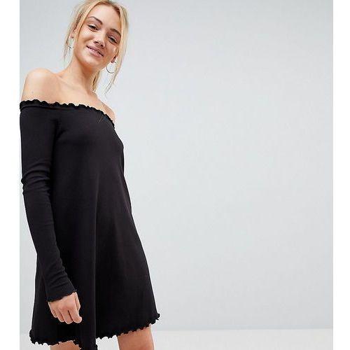 Asos tall babylock rib off shoulder mini dress - black