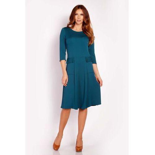 Lou-lou Zielona sukienka midi z kieszeniami
