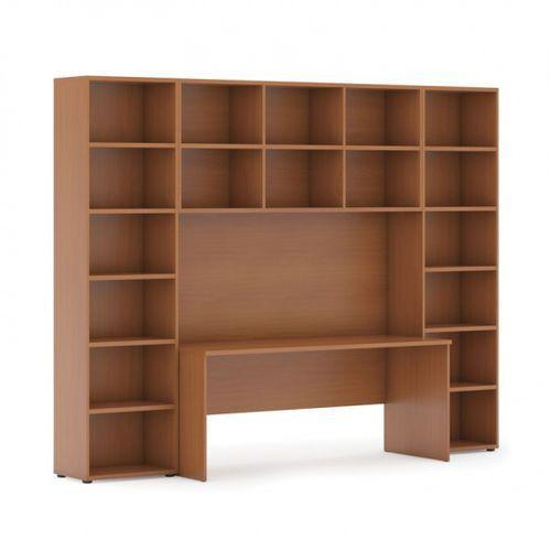 Biblioteka z wbudowanym biurkiem, wysoka, 2950x700/400x2300 mm, czereśnia