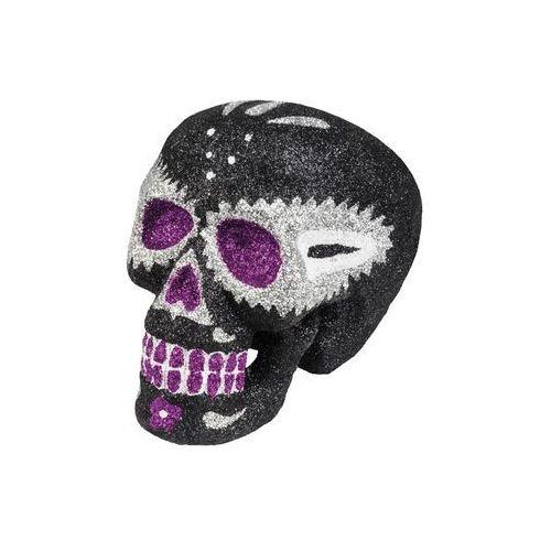 Brokatowa czaszka czarna na Halloween - 16 cm - 1 szt. (8712026720597)