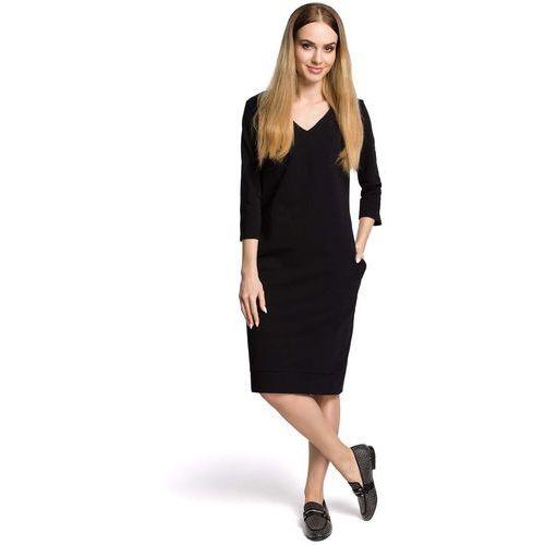 f0c6b08674 Moe Sukienka codzienna dzianinowa z dekoltem w szpic - czarna 124