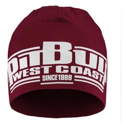 Czapka pit bull beanie classic boxing burgundowa - burgundowy marki Pit bull west coast
