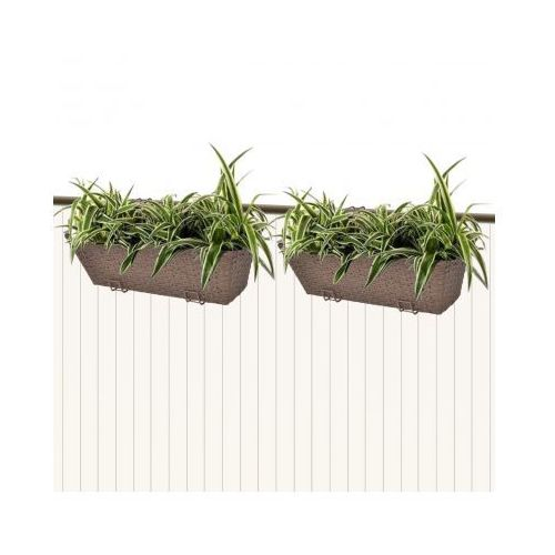Donice balkonowe prostokątne 50 cm x2 brąz - oferta [054e257ed7d1b439]